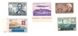 San Marino 1959-1960  Posta Aerea 5 Diversi Valori Nuovi * *  Ma Alcuni Gomma Bicolore COD FRA.817 - San Marino
