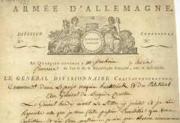 ARMEE D'ALLEMAGNE - General CHATEAUNEUF-RANDON (1757-1827) - Meisenheim 1797 Kirchheimbolanden Pfalz - Documentos Históricos
