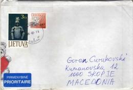 Lithuania Letter Via Macedonia 2002.nice Stamps - Lithuania
