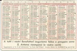 CALENDARIETTO 1961 ORFANOTROFIO ANONIANO MASCHILE PADOVA PLASTICATO - Calendari
