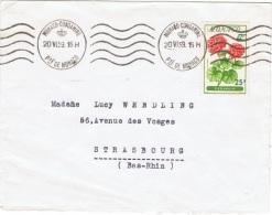 FLORA-L130 - MONACO Lettre Pour Strasbourg De 1959 Aff. Géraniums - Autres
