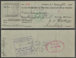 """FRANC MACONNERIE - MASONIC / 1935 CHEQUE BANCAIRE """"MASONIC ASSOCIATION OF PASSAIC"""" (ref 3653) - Religion & Esotérisme"""