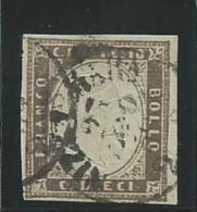 ITALIE:ANCIENS-ETATS: SARDAIGNE: Obl., N°11b, Brun-gris, Signé Macovéanu, TB - Sardaigne
