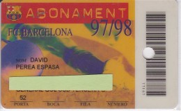 CARNET DE SOCIO DE FUTBOL CLUB BARCELONA ABONAMENT 1997-98 GOL SUD (FOOTBALL) BARÇA (LA CAIXA) - Deportes