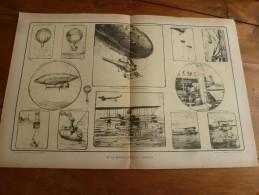La Guerre Navale à Travers Le Temps , Gravure De La MONGOLFIERE Au ZEPPELIN (dimension Du Document = 50cm X 33cm - Documents