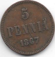Finland 5 Pennia 1867  Km 4.1  Vf - Finlande