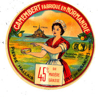 M 773  ETIQUETTE DE - CAMEMBERT    PIERRE HALLAIS  LOLIF PAR AVRANCHES  MANCHE - Fromage