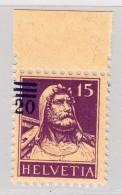 Schweiz 192   #150B** 20 Auf 15Rp Tellbrust Abart Aufdruck Links Ausserhalb Des Markenbildes - Variétés