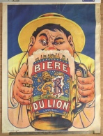 "Rare Ancienne Affiche ""Biere Du Lion"" Brasserie Richard Frères, Ivry-sur-Seine - Affiches"