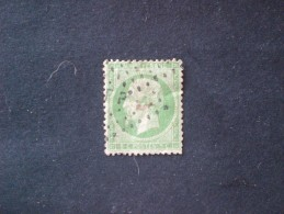 "TIMBRE FRANCIA 1862 NAPOLEONE III 5 CENT VERT N.20 (YVERT) OBLITERE ""F P "" - 1862 Napoleon III"