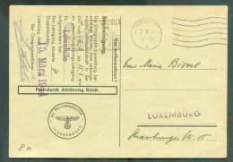 Carte (Einberufung Zur Luftschutz-Ausbildung)  Obl. Sc LUXEMBURG Du 2-3-1944 Vers Luxembourg + Censure Allemande - 11137 - 1940-1944 German Occupation