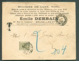 Thematic BOUGIE CANDLE - Belgium Cover From Bruxelles  (Ch. De Charleroi) To Brussels Centru En Taxationof 20 Centimes ; - Timbres