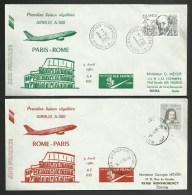 2 Enveloppes / Première Liaison Régulière AIRBUS A300 - PARIS - ROME - ITALIE Aller - Retour / 09.04.1980 - Postmark Collection (Covers)
