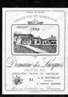 BORDEAUX - Graves - Chateau - Domaine Des Lucques 1983 - Bordeaux