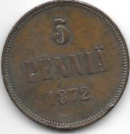 *finland 5 Pennia 1872  Km 4.2  Vf Catalog Val 40,00$ - Finlande