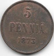 *finland 5 Pennia 1873  Km 4.2  Vf - Finlande