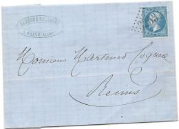 Aisne - Sains Pour Reims (Marne). GC . 1865 - Marcophilie (Lettres)
