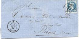 Aisne - Sains Pour Reims. GC + CàD T15 III. 1867 - Marcophilie (Lettres)