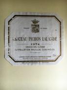 849 - Château Pichon  Lalande 1974 Pauillac - Bordeaux