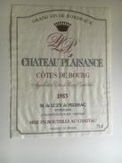 852 - Château Plaisance 1985 Côtes De Bourg - Bordeaux