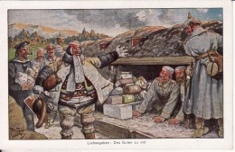 Carte Postale Fantaisie Dessin- Arthur THIELE Illustrateur - Liebesgaben : Des Guten Zu Viel  Militaire Allemand-Stempel - Thiele, Arthur
