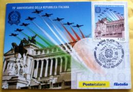 ITALIA - 2016. 70° ANNIVERSARIO REPUBBLICA , OFFICIAL MAXI CARD - 6. 1946-.. Repubblica