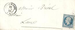 Aisne - Vailly Su Aisne Pour Laon. PC + CàD Type 15. Indice 5 - Marcophilie (Lettres)