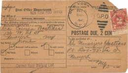 New York - 1940 - Paper To Identify - G.P.O. - Postage Due, 2 Cents (Cerceado E Selo Rasgado) - Lettres & Documents