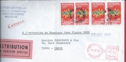 Express Letter With Mixed Rate France. Block Of Four Stamps Europe 1972 Mechanical Franchise Complement. Special Distrib - Brieven En Documenten