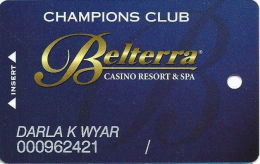 Belterra Casino Resort Florence, IN Slot Card - No SM After Champions Club - Casino Cards