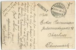 CPA 1910 Vers Le Danemark Cachets BAHNPOST AMBULANT + Linéaire ROMONT Affr. Tricolore - Marcofilie