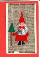 Carte Fantaisie Matériaux *  Tissus Perle Pere Noel - Cartoline