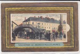 CPA MONTCEAU LES MINES 71 SOUVENIR CARTE A SYSTEME DEPLIANT 1924 PONT ANIMATION - Montceau Les Mines