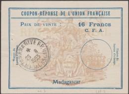 Madagascar 1955. Coupon-réponse. Agriculture, Semeur, écriture (plume), Anges, Sillons, Main & Jambe, Corne D'abondance - Landwirtschaft