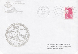 TOUR DU MONDE DE LA CORVETTE LA MOTTE PICQUET BREST NAVAL 4/11/1988 - Poststempel (Briefe)