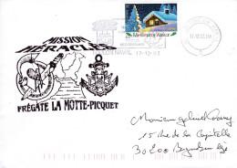 FREGATE  LA MOTTE PICQUET MISSION HERACLES TOULON NAVAL 17/12/02 TIMBRE VOEUX - Marcophilie (Lettres)
