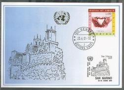 2001, UNO Genf - Blaue Karte, Show Card San Marino - Briefe U. Dokumente