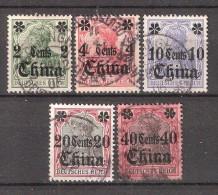 CHINA  / Chine, Bureaux Allemands, 1905, Sans Filigrane , 5 Timbres  Yvert N° 30 / 34 , Obl B/TB, Cote 38 Euros - Oficina: China