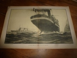 La Guerre Navale à Travers Les Gravures D' Albert Sébille  RENCONTRE Du GOEBEN Et PHRYGIE(dim. Document = 50cm X 33cm - Barcos