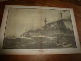 La Guerre Navale à Travers L'illustrateur Albert Sébille  POURSUITE DES AUTRICHIENS à LISSA (dim. Document = 50cm X 33cm - Boats