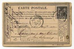 !!! CARTE PRECURSEUR TYPE SAGE CACHET DE CUSSET ( ALLIER ) 1878 - Voorloper Kaarten