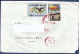 BOLIVIA POSTAL USED AIRMAIL COVER TO PAKISTAN BIRD BIRDS FLAG - Bolivie