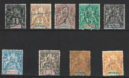 """Martinique YT 31...40 """" Lot 9 Timbres """" 1892 Oblitérés - Usados"""