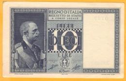10 LIRE, BIGLIETTO DI STATO - 1944 SPL - Pick 25c - [ 1] …-1946 : Kingdom
