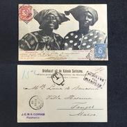 1902. SURINAM. PARAMARIBO - TANGER. VALUATION. SURINAME VIA PLYMOUTH. POSTCARD. - Surinam