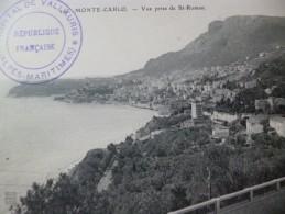 Sur CPA Monté Carlo Cachet Hôpital De Valauris Bis Datée 1915 - Marcofilie (Brieven)