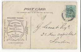 1903 - GB - SUPERBE CARTE De La LONDON & SOUTH WESTERN RAILWAY Co.(PAQUEBOT) + TIMBRE PERFORE De SOUTHAMPTON - MARITIME - Marcofilia