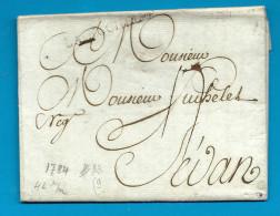 Charente Inférieure - La Rochelle Pour Sedan (Ardennes). MP Lenain N°13. 1784 - 1701-1800: Precursors XVIII