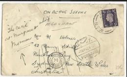 1941 - GB/EGYPTE/AUSTRALIE - ENVELOPPE De PORT SAÏD TIMBRE ANGLAIS OBLITERE à L'ARRIVEE à NEUTRAL BAY SYDNEY Puis MOSMAN - Marcophilie
