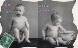 2445. LOT DE 2 CPA BEBES ET POTS DE CHAMBRE - Bébés